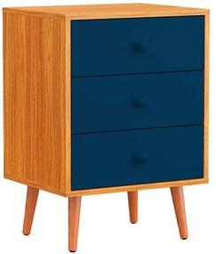 Mesa de Cabeceira 3 Gavetas Pés Palito Azul Marinho - Wood Prime PA 6074