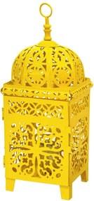 Luminária Quadrada Marroquina Flor New Med Amarela em Metal - Urban