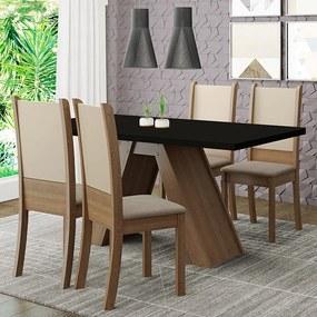 Conjunto Sala de Jantar Madesa Kiara Mesa Tampo de Madeira com 4 Cadeiras Rustic/Preto/Crema/Bege Cor:Rustic/Preto/Crema/Bege