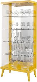 Cristaleira Pétala C/ 2 Portas de Vidro Amarelo Brilho