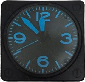 Relógio de Balcão Modelo de Pulso Quadrado Preto/Azul - 30x30 cm