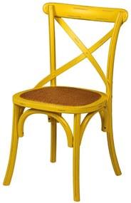 Cadeira Paris Amarela de Madeira sem Braço com Assento Rattan
