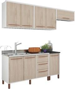 Cozinha Compacta Pistache Branco e Bege Móveis Albatroz