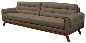 Sofá 3 Lugares Sala de Estar Eros 210 cm Veludo Capuccino Base Fixa - Gran Belo