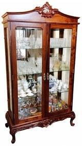 Cristaleira Luís XV Madeira Maciça Design de Luxo Peça Artesanal