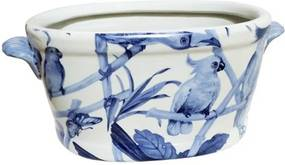 Cachepot em Cerâmica Pássaros Azuis - 16x35x19cm