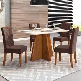 Mesa de Jantar Talía Tampo Curvo 136cm  Rústico Terrara Off White + 4 Cadeiras Sara Veludo Moca