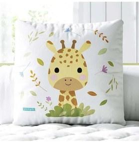 Almofada Quadrada Amiguinha Girafa Baby Grão de Ge