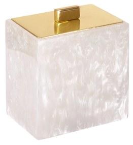 Porta Algodão Madrepérola - Dourado  Dourado