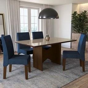 Conjunto Sala de Jantar Mesa Chilli e 4 Cadeiras Walnut/Bronze/Marinho - Kappesberg