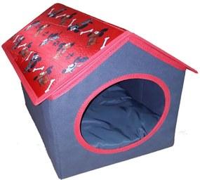 Casinha para gato e cachorro de pequeno porte - vermelho