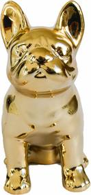 Cofre cerÂmica metalizado - cachorro dourado