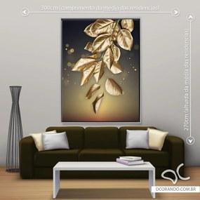 Quadro Folha Dourada Due - Gigante 185cm x 140cm, Tela + Moldura Prata