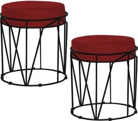 Kit 2 Puffs Decorativo Sala de Estar Base Preto Chloe Veludo Vermelho - Gran Belo
