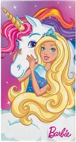 Toalha Lepper Aveludada Barbie Reinos Mágicos Rosa