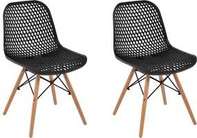 Kit 2 Cadeiras Decorativas Sala e Cozinha Haney (PP)Preta  - Gran Belo