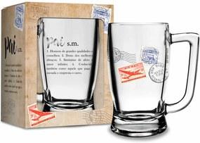 Caneca vidro 340ml - pai - pai significado bege