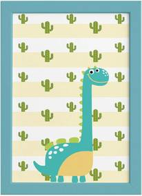 Quadro Infantil Quartinhos Dinossauro Baby 2 Turquesa 22x32 Moldura Azul