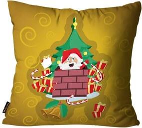 Capa para Almofada Premium Cetim Mdecore Natal Papai Noel Amarela45x45cm