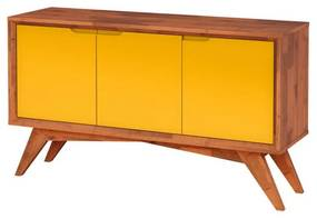 Buffet Serafim 3 Portas Natural e Amarelo - Wood Prime MP 27616