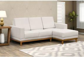 Sofá Willow 3 Lugares (L:200cm) C/ Chaise Suede Liso Bege DST