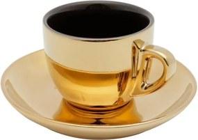Jogo Xícaras Chá Porcelana 6 Peças Com Pires Preto E Dourado Versa 220ml 35530 Wolff