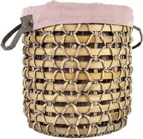 Cesto Balinês Fibra Natural com Alças e Tecido D35cm x A40cm