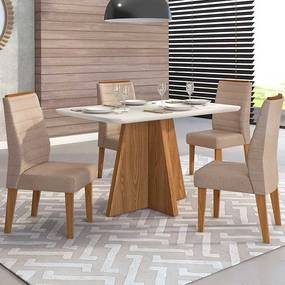 Mesa de Jantar Talía Tampo Curvo 136cm Carvalho Nobre Off White + 4 Cadeiras Curvata Linho Saara