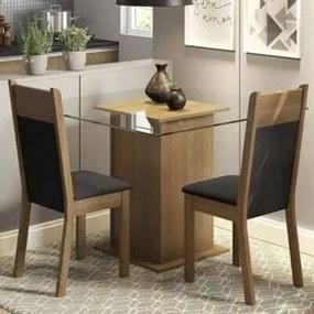 Conjunto Sala de Jantar Madesa Lau Mesa Tampo de Vidro com 2 Cadeiras Rustic/Preto/Sintético Preto Cor:Rustic/Preto/Sintético Preto