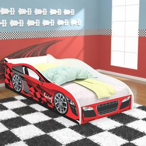 Cama Solteiro / Cama Carro Speedy Racing New 188x88 cm - Vermelha/Vermelho - RPM Móveis