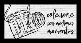 Quadro Alto Relevo Câmera Fotográfica Cinza40x75cm