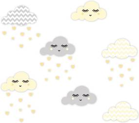 Adesivo de Parede Nuvens Chevron Amarelo