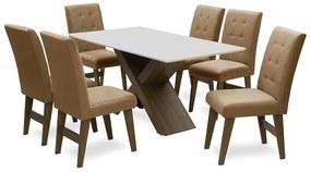 Conjunto Mesa de Jantar com 06 Cadeiras Agata 160cm Castanho/Branco Off/Mascavo - ADJ DECOR