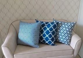 3 Capas para Almofadas Confort Veludo Geométrico Azul 50x50cm