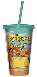 Copo com Canudo Personagens Turma Flintstones