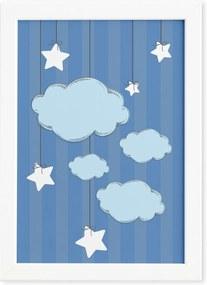 Quadro Ursinho Príncipe Nuvens Moldura Branca 33x43cm