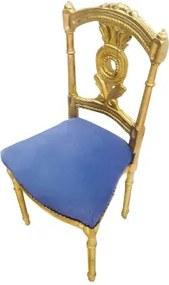 Cadeira Folheada a Ouro Clássica Pequena Azul