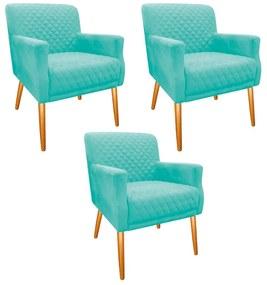 kit 03 Poltronas Juliana Palito Mel Suede Azul Tiffany - ADJ Decor