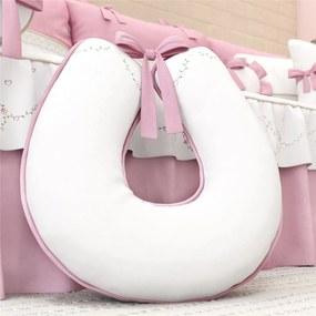 Almofada Amamentação Branco/Rosa Menina Floral Grão de Gente Rosa