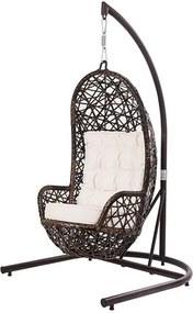 Poltrona de Balanco Ninho Revestido Fibra cor Argila com Almofada cor Branca e Suporte de Chao - 45212 Sun House