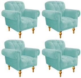 kit 04 Poltronas Decorativas Dani Suede Azul Tiffany - ADJ Decor