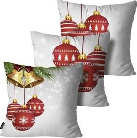 Kit 3 Almofadas Mdecore de Natal Decorativas Cinza 55x55