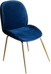 Cadeira em Aço com Estofado Azul - 49x85x50cm
