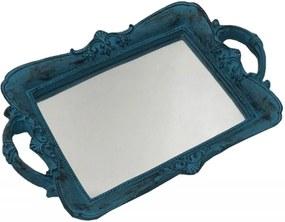 Bandeja Espelhada Pequena Decorativa Azul 4x30x20cm