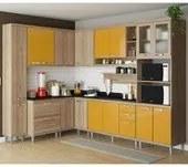 Cozinha Modulada Sicilia Argila Amarelo 09 Modulos Multimoveis