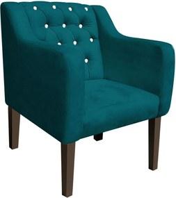Poltrona Decorativa Lisa Suede Azul Pavão com Strass - D'Rossi