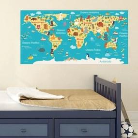 Adesivo Mapa Infantil Continentes Com Animais