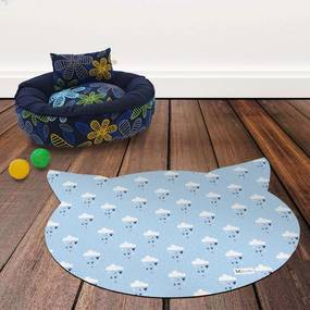 Tapete PET Mdecore Cabeça de Gato Nuvem Azul 54x39cm