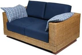 Sofa Salinas 2 Lugares Assento cor Azul Marinho com Base Madeira Revestida em Junco - 44784 Sun House