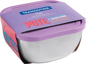 Pote Tramontina Freezinox Quadrado Em Aço Inox Com Tampa Plástica Lilás 16 Cm 1,5 L 61221164